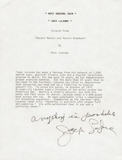 JACK LALANNE - ANNOTATED TYPESCRIPT SIGNED