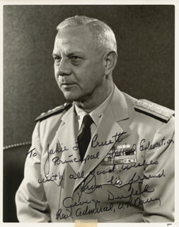 Autographs: REAR ADMIRAL GEORGE DUFEK - PHOTOGRAPH SIGNED