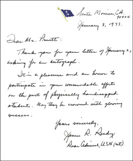 REAR ADMIRAL JAMES R. REEDY - AUTOGRAPH LETTER SIGNED