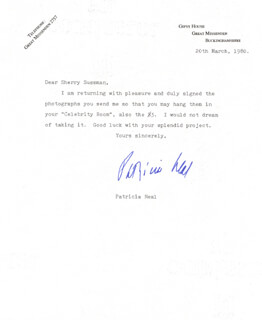 PATRICIA NEAL - TYPED LETTER SIGNED 03/20/1980