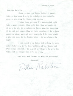 ESTHER RALSTON - TYPED LETTER SIGNED