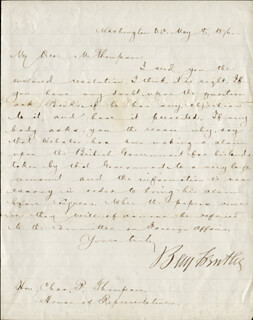 MAJOR GENERAL BENJAMIN F. BUTLER - AUTOGRAPH LETTER SIGNED 05/08/1876