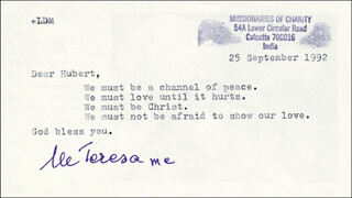 Autographs: MOTHER TERESA - TYPED LETTER SIGNED 09/25/1992