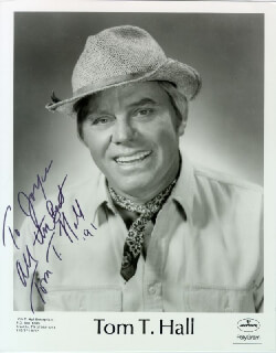TOM T. HALL - INSCRIBED PRINTED PHOTOGRAPH SIGNED IN INK 1991