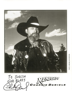 CHARLIE DANIELS - INSCRIBED PRINTED PHOTOGRAPH SIGNED IN INK