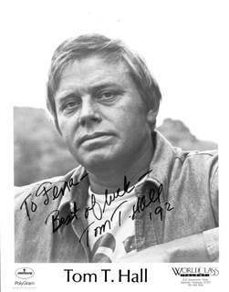 TOM T. HALL - INSCRIBED PRINTED PHOTOGRAPH SIGNED IN INK 1992