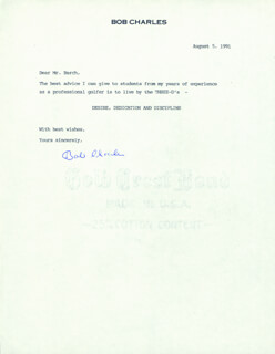 SIR BOB CHARLES - TYPED LETTER SIGNED 08/05/1991