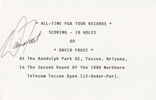 DAVID FROST - PRINTED CARD SIGNED IN INK