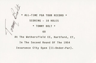 TOMMY BOLT - TYPED CARD SIGNED