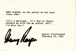 GARY PLAYER - TYPED QUOTATION SIGNED