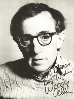WOODY ALLEN - INSCRIBED PICTURE POSTCARD SIGNED