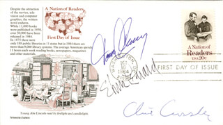 TOM CLANCY - FIRST DAY COVER SIGNED CO-SIGNED BY: ELMORE J. LEONARD JR., CLIVE CUSSLER