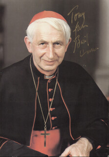 Autographs: GEORGE BASIL CARDINAL HUME - INSCRIBED PICTURE POSTCARD SIGNED