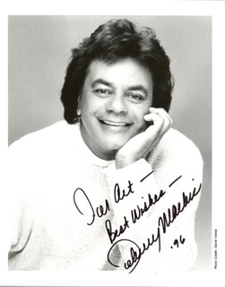 JOHNNY MATHIS - AUTOGRAPHED INSCRIBED PHOTOGRAPH 1996