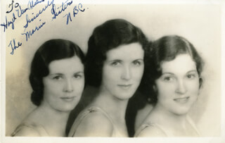 MARIN SISTERS - AUTOGRAPH NOTE ON PHOTOGRAPH SIGNED