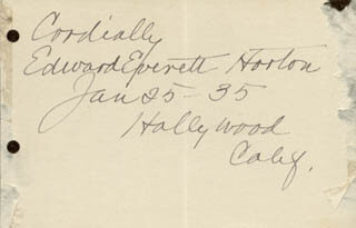 EDWARD EVERETT HORTON - AUTOGRAPH SENTIMENT SIGNED 01/25/1935