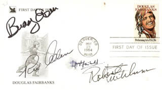 ROBERT MITCHUM - FIRST DAY COVER SIGNED CO-SIGNED BY: BUDDY EBSEN, DOUGLAS FAIRBANKS JR., REX ALLEN