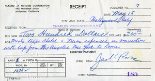 JACK ROSE - RECEIPT SIGNED CIRCA 1959