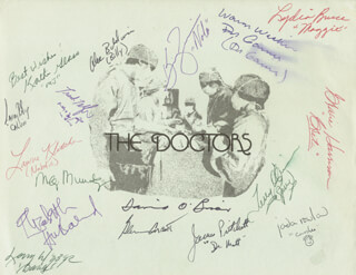 DOCTORS TV CAST - PRINTED ILLUSTRATION SIGNED CO-SIGNED BY: ALEC BALDWIN, GLENN CORBETT, KATHERINE GLASS, KIM ZIMMER, LAWRENCE WEBER, LARRY RILEY, JAMES PRITCHETT, MEG MUNDY, BEN THOMAS, DAVID O'BRIEN, ELIZABETH HUBBARD, TERRY O'QUINN, ROBERT FRANK TELFER, GRACIE HARRISON, JADA ROWLAND, LAURIE KLATSCHER, LYDIA BRUCE