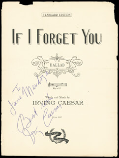 IRVING CAESAR - SHEET MUSIC SIGNED