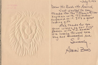 ADRIAN ZMED - AUTOGRAPH LETTER SIGNED 07/19/1982