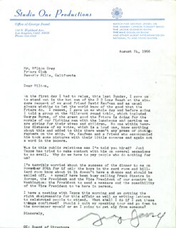 GEORGE JESSEL - TYPED LETTER SIGNED 08/24/1966