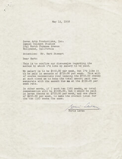 BORIS LEVEN - TYPED LETTER SIGNED 05/12/1958