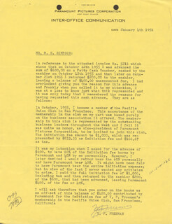 Y. FRANK FREEMAN - TYPED LETTER SIGNED 01/04/1956