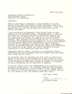 Y. FRANK FREEMAN - TYPED LETTER SIGNED 03/23/1959