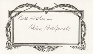 HELEN HULL JACOBS - AUTOGRAPH