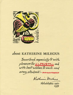 KATHERINE MILHOUS - INSCRIBED PAMPHLET SIGNED 1973