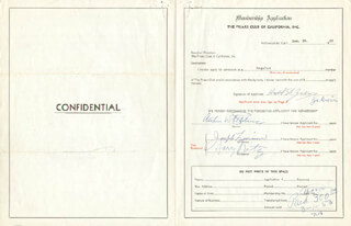 THE RITZ BROTHERS (HARRY RITZ) - PRINTED APPLICATION SIGNED IN INK CO-SIGNED BY: DAVID ZAKWIN, ARTHUR W. STEBBINS