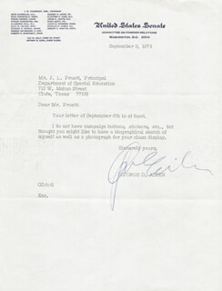 Autographs: GEORGE D. AIKEN - TYPED LETTER SIGNED 09/09/1974