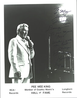 FRANK PEE WEE KING - AUTOGRAPHED INSCRIBED PHOTOGRAPH 01/15/1990