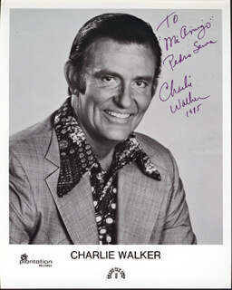 CHARLIE WALKER - INSCRIBED PRINTED PHOTOGRAPH SIGNED IN INK 1985