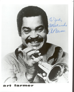 ART FARMER - INSCRIBED PRINTED PHOTOGRAPH SIGNED IN INK
