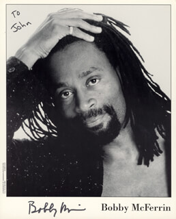 BOBBY McFERRIN - INSCRIBED PRINTED PHOTOGRAPH SIGNED IN INK