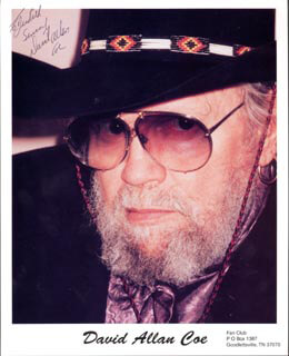 DAVID ALLAN COE - AUTOGRAPHED INSCRIBED PHOTOGRAPH