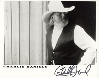 CHARLIE DANIELS - PRINTED PHOTOGRAPH SIGNED IN INK