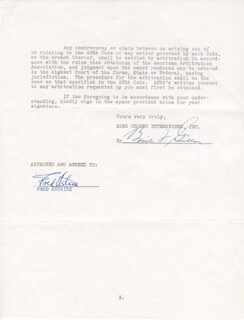 Autographs: FRED ASTAIRE - CONTRACT SIGNED 12/13/1951