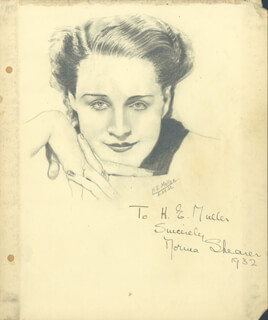 NORMA SHEARER - INSCRIBED ORIGINAL ART SIGNED 05/30/1932 CO-SIGNED BY: H. E. MULLER