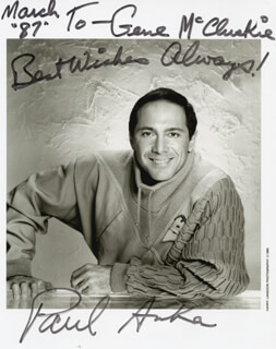PAUL ANKA - AUTOGRAPHED SIGNED PHOTOGRAPH 3/1987