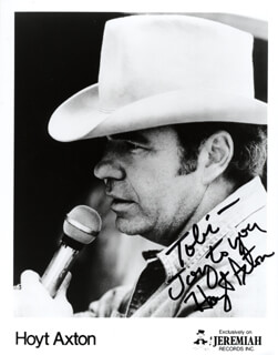 HOYT AXTON - INSCRIBED PRINTED PHOTOGRAPH SIGNED IN INK
