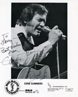 GENE SUMMERS - INSCRIBED PRINTED PHOTOGRAPH SIGNED IN INK 1984
