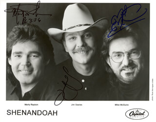 SHENANDOAH - PRINTED PHOTOGRAPH SIGNED IN INK CO-SIGNED BY: SHENANDOAH (JIM SEALES), SHENANDOAH (MARTY RAYBON), SHENANDOAH (MIKE MCGUIRE)