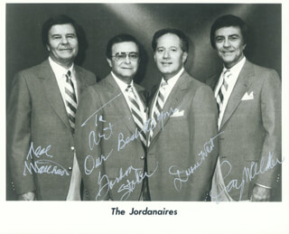 THE JORDANAIRES - AUTOGRAPHED INSCRIBED PHOTOGRAPH CO-SIGNED BY: THE JORDANAIRES (NEAL MATTHEWS, JR.), THE JORDANAIRES (GORDON STOKER), THE JORDANAIRES (DUANE WEST), THE JORDANAIRES (RAY WALKER)
