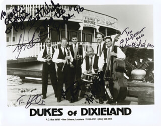 DUKES OF DIXIELAND - INSCRIBED PRINTED CARD SIGNED IN INK CO-SIGNED BY: DUKES OF DIXIELAND (TOM MCDERMOTT ), DUKES OF DIXIELAND (RICHARD TAYLOR ), DUKES OF DIXIELAND (EVERETT LINK ), DUKES OF DIXIELAND (TIM LAUGHLIN ), DUKES OF DIXIELAND (BENJAMIN SMITH )