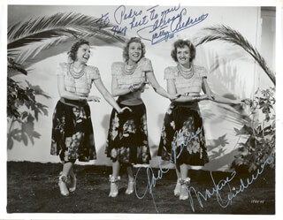 Autographs: THE ANDREWS SISTERS - PHOTOGRAPH SIGNED CO-SIGNED BY: PATTY ANDREWS, MAXENE ANDREWS