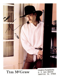 TIM McGRAW - AUTOGRAPHED INSCRIBED PHOTOGRAPH 1996