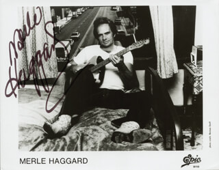MERLE R. HAGGARD - PRINTED PHOTOGRAPH SIGNED IN INK
